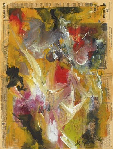 Willem de Kooning-Untitled (Yellow, Black and White Painting on Newspaper)-1970