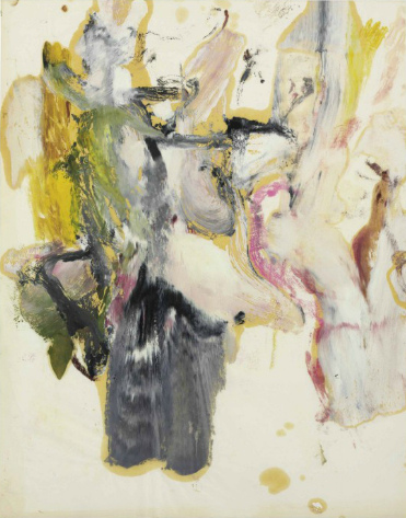 Willem de Kooning-Untitled (Yellow, Black, Brown and Purple Abstract Painting)-1970