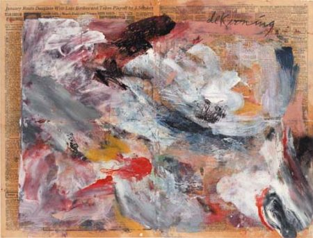 Willem de Kooning-Untitled (Abstract Painting, Oil on Newspaper)-1970