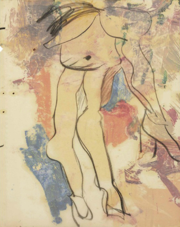 Willem de Kooning-Untitled (Drawing with Purple, Orange and Blue Shapes)-1970