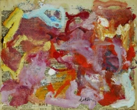 Willem de Kooning-Untitled (Red, Purple, Yellow and Light Blue Abstract Painting)-1973