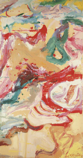 Willem de Kooning-Untitled (Abstract Painting, Oil on Paper laid down on Canvas)-1974