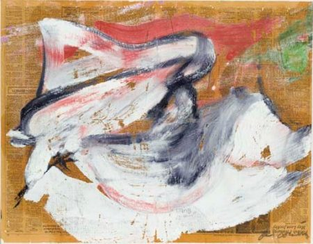 Willem de Kooning-Untitled (White, Black and Red Painting, Oil on Newspaper)-1975