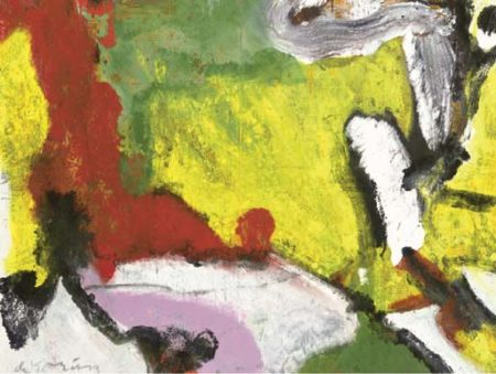 Willem de Kooning-Untitled (Yellow, Red, Green, Black, White and Pink Abstract Painting)-1976