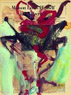 Willem de Kooning-Untitled (Maroon and Black Figure Painting)-1976