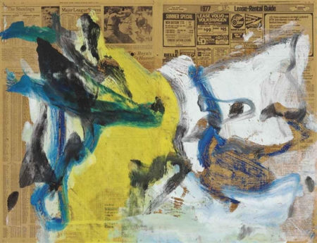 Willem de Kooning-Untitled (Navy Blue, Yellow and White Abstract Painting)-1977