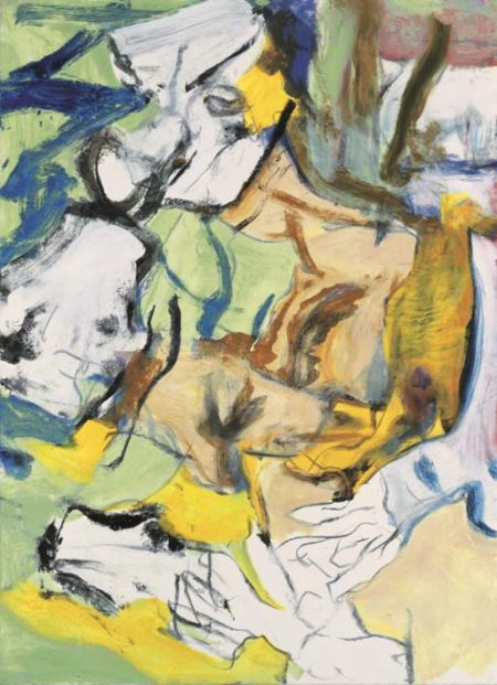 Willem de Kooning-Untitled (Green, Blue, Brown, Yellow, Green, Black and White Abstract Painting)-1977