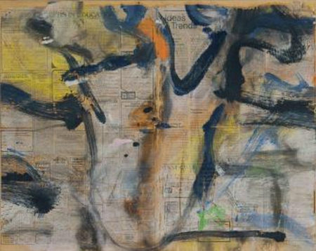 Willem de Kooning-Untitled (Navy Blue, Yellow and Orange Painting on Newspaper)-1978