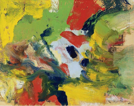 Willem de Kooning-Untitled (Yellow, Green, Navy Blue, White and Red Abstract Painting)-1978