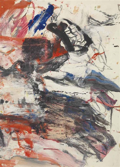 Willem de Kooning-Untitled (Black, White, Red and Blue Abstract Painting)-1979