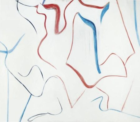 Willem de Kooning-Untitled (Blue and Red Curve Lines)-1984