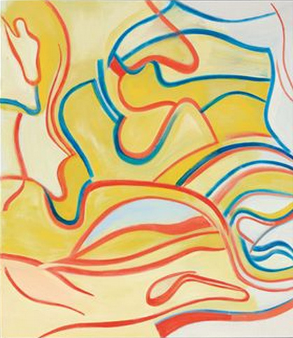 Willem de Kooning-Untitled (Yellow with Blue and Red Curve Lines, Abstract Painting)-1987