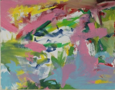 Willem de Kooning-Untitled (Pink, Green, White Yellow and Light Blue Abstract Painting)-1989