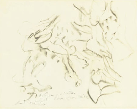 Willem de Kooning-Untitled (Abstract Drawing, Charcoal and Graphite on Paper)-1970