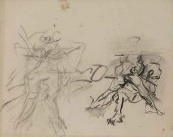 Willem de Kooning-Untitled (Abstract Drawing, Charcoal on Vellum)-1970