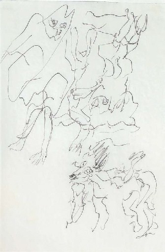 Willem de Kooning-Untitled (Abstract Drawing, Ink on Vellum)-