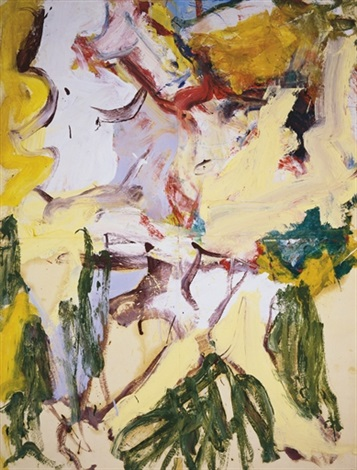 Willem de Kooning-Untitled (Abstract Painting, Oil on Paper laid on Canvas)-1974