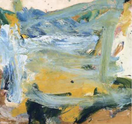 Willem de Kooning-Untitled (Blue, Yellow, Black and White Abstract Painting)-1967