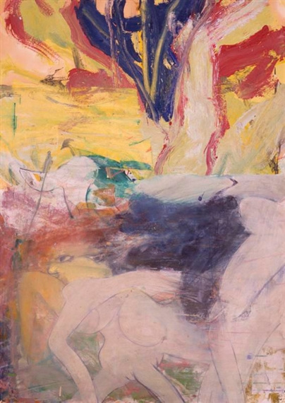 Willem de Kooning-Untitled (Blue, Yellow, Red and Pink Abstract Painting)-1974