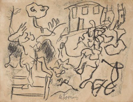 Willem de Kooning-Untitled (Drawing, Charcoal on Paper)-