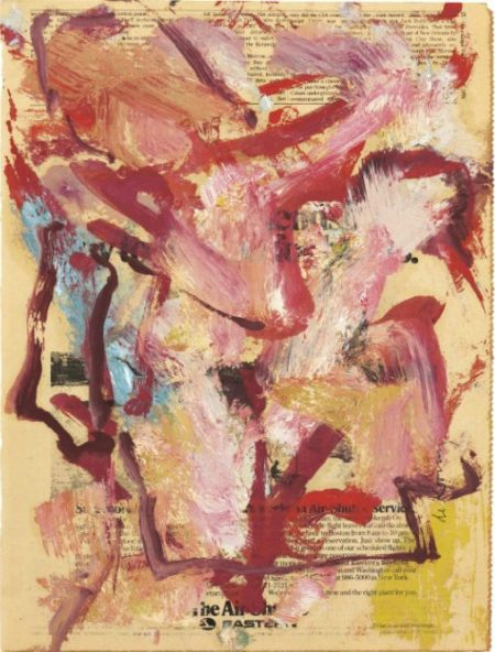 Willem de Kooning-Untitled (Maroon and White Abstract Painting)-1976