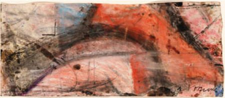 Willem de Kooning-Untitled (Red, Black and White Abstract Drawing)-1960