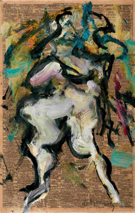 Willem de Kooning-Untitled (Woman Painting, Oil on Newspaper)-1971
