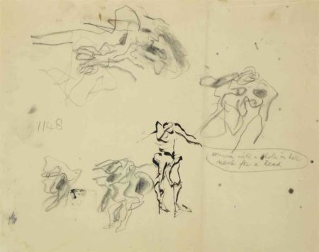 Willem de Kooning-Untitled (Woman with a Hole in Her Neck for Her Head)-1970