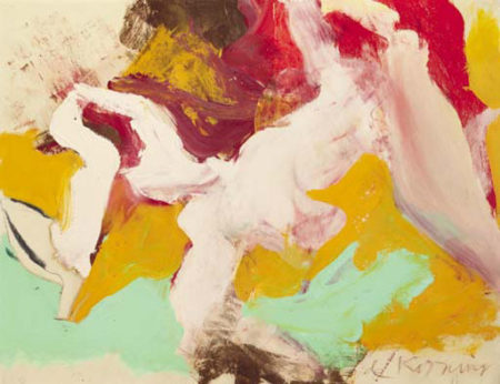 Willem de Kooning-Untitled (Abstract Painting, Oil on Paper laid down on Canvas)-