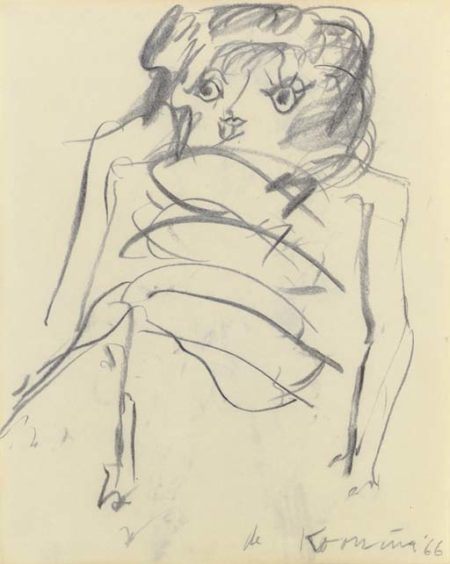 Willem de Kooning-Woman (Charcoal on Paper)-1966