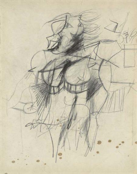 Willem de Kooning-Woman (Graphite on Paper)-1951