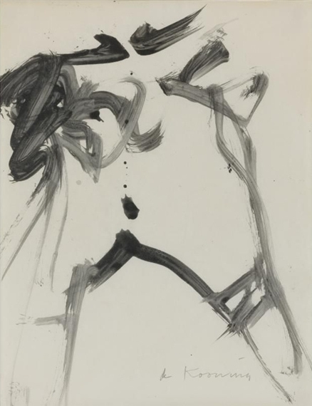 Willem de Kooning-Woman (Ink and Brush on Paper)-
