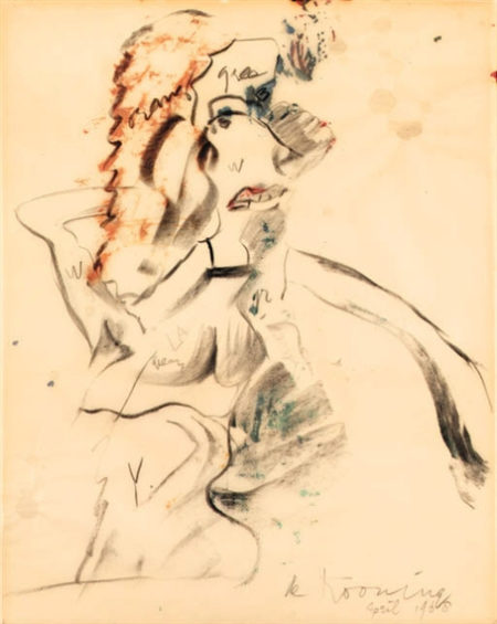 Willem de Kooning-Woman (Oil and Charcoal on Vellum)-1968