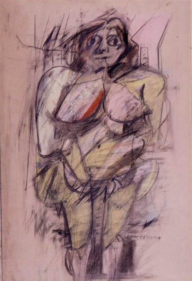 Willem de Kooning-Woman (Pastel on Paper)-1952
