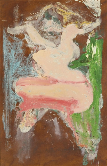 Willem de Kooning-Woman (Pink, Brown, Green and Light Blue Painting)-1965