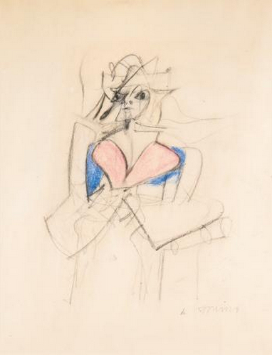 Willem de Kooning-Woman (Pink and Blue Dress)-1951