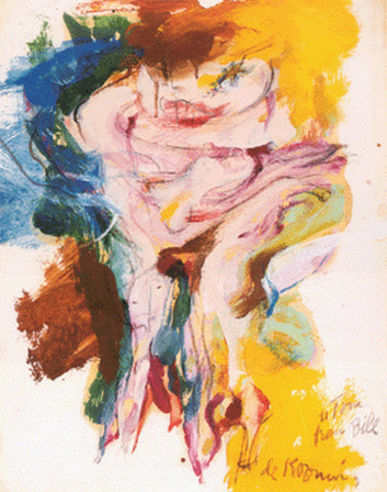 Willem de Kooning-Woman (Yellow, Blue and Brown Painting)-1965