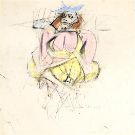 Willem de Kooning-Woman (Yellow Dress)-1952