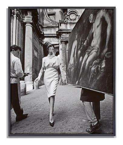 William Klein-Simone + Painting + Coffee, Rome-1960