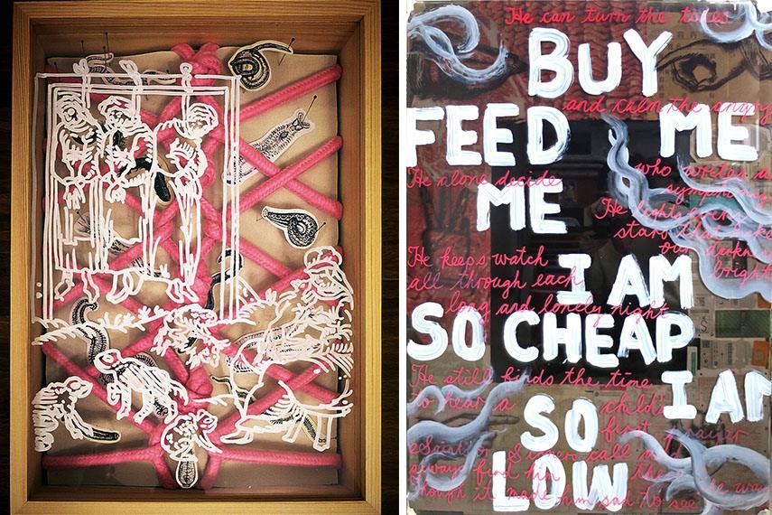 Wong Ka Ying - Whip, Cuffs, Bondage, Mask & Gag (Left) / Buy Feed Me I Am So Cheap I Am So Low (Right)