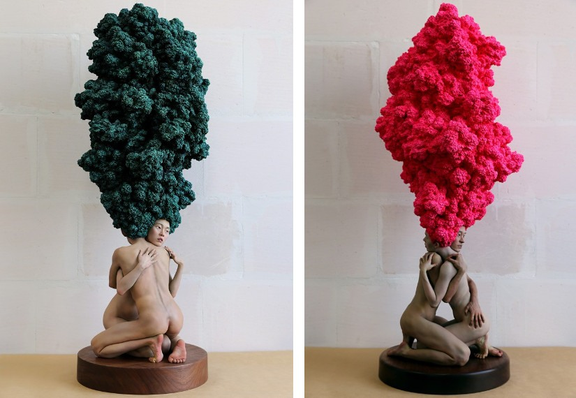 Xooang Choi – Dreamers (Girl), 2008 (Left) / Dreamers (Pink), 2015, olio su resina
