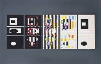 Yaacov Agam-Five Phases (Dark Grey)-1977