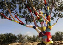 make your own tree yarn bomb
