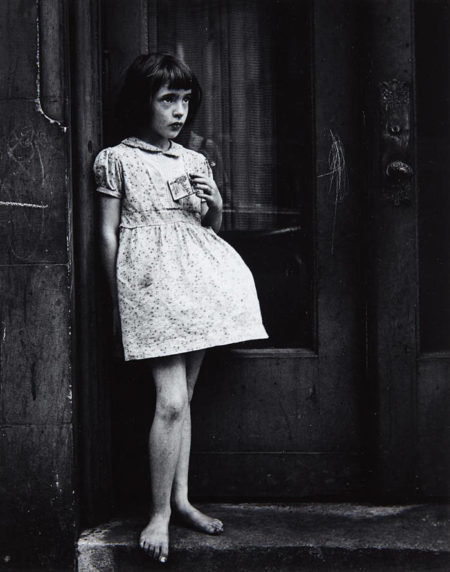 Yasuhiro Ishimoto-Young Girl, Barefoot, Holding Package of Candy Cigarettes-1952