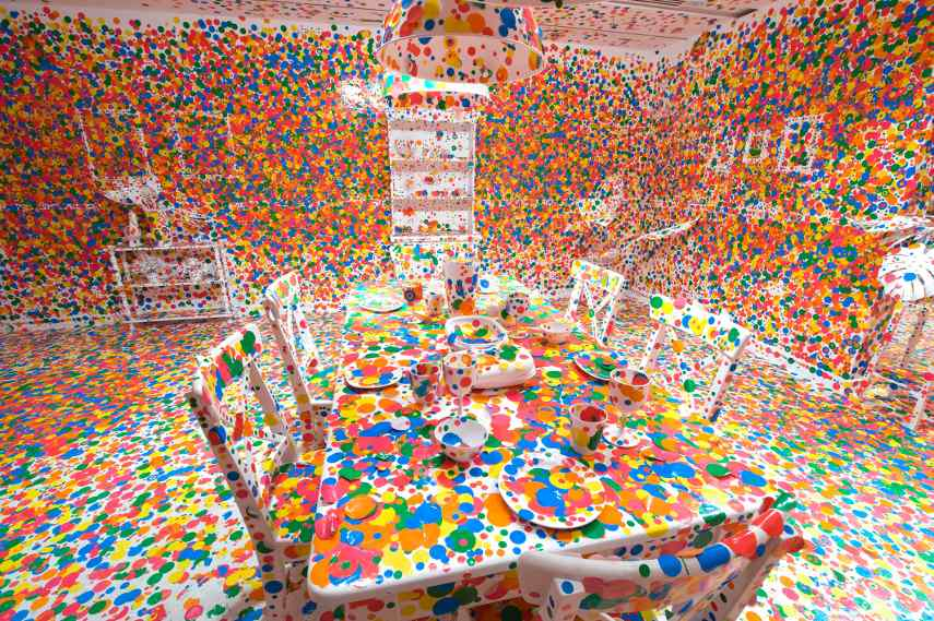 Yayoi Kusama - The obliteration room, 2011 - In the gallery or museum exhibitions, the infinity of installation is how you view arts