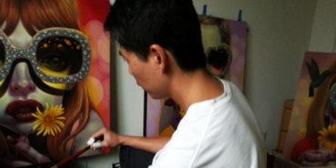 Young Chun in his studio
