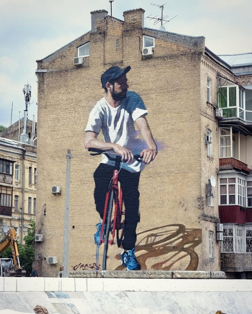Young Jarus - Red Bycicle, Art United Us festival, Kiev, 2016