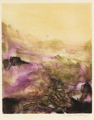 Zao Wou-Ki-An etching from Canto Pisan-1972