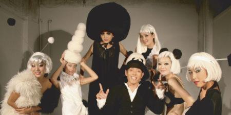Zhao Bandi with models at Bandi Panda fashion show - image courtesy of ShanghART