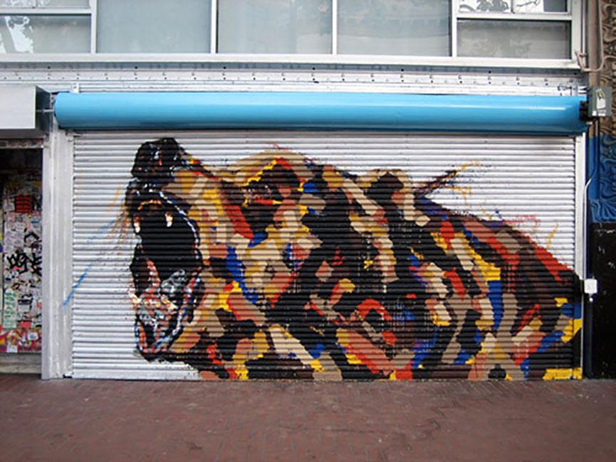 Graffiti grizzly bear